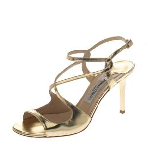 Jimmy Choo Gold Mirror Leather Paxton Cross Strap Sandals Size 37.5