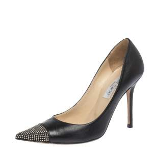 Jimmy Choo Black Leather And Studded Suede Amika Pointed Toe Pumps Size 38