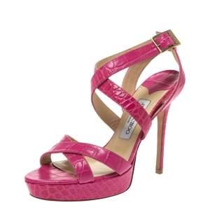 Jimmy Choo Pink Croc Embossed Leather Vamp Platform Ankle Strap Sandals Size 39