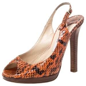 Jimmy Choo Two Tone Python Leather Peep Toe Slingback Sandals Size 37