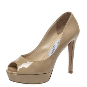 Jimmy Choo Beige Patent Leather Crown Peep Toe Platform Pumps Size 35.5