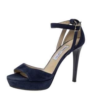 Jimmy Choo Blue Suede Leather April Cross Strap Platform Sandals Size 38.5