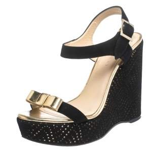 Jimmy Choo Black Perforated Suede and Gold Leather Nice Wedge Bow Sandals  Size 38