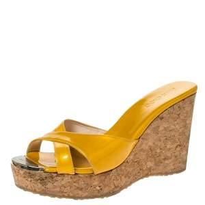 Jimmy Choo Mustard Yellow Patent Leather Pandora Cork Wedges Size 37.5