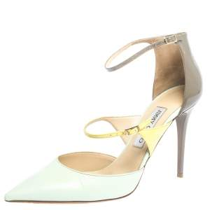 Jimmy Choo Tricolor Leather Multi Strap Pointed Toe Pumps Size 39