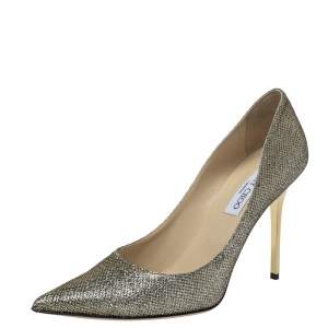 Jimmy Choo Metallic Gold Lamè Glitter Abel Pointed Toe Pumps Size 40
