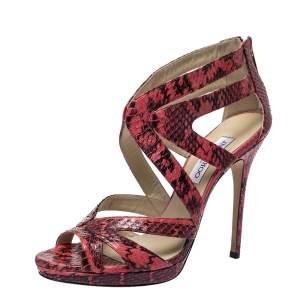 Jimmy Choo Pink/Black Snakeskin Caged Strappy Platform Sandals Size 41