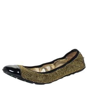 Jimmy Choo Metallic Gold Lamè and Black Patent Leather Winnie Cap Toe Scrunch Ballet Flats Size 38