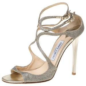 Jimmy Choo Silver Glitter Fabric Lang Ankle Strap Sandals Size 40