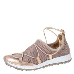 Jimmy Choo Metallic Beige Mesh And Leather Trims Andrea Mesh Slip-On Sneakers Size 35