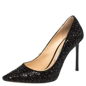 Jimmy Choo Black Coarse Glitter Romy Pointed Toe Pumps Size 38.5