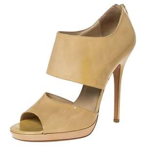 Jimmy Choo Beige Patent Leather 'Private' Sandals Size 40
