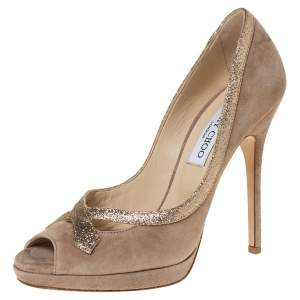 Jimmy Choo Beige Suede And Glitter Leather Quick Peep Toe Platform Pumps Size 38
