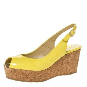 Jimmy Choo Yellow Patent Leather Praise Slingback Wedge Sandals Size 38