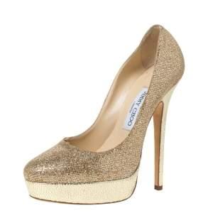 "حذاء كعب عالي جيمي تشو ""إيروس"" نعل سميك جلد بارز و قماش غليتر ذهبي مقاس 38"