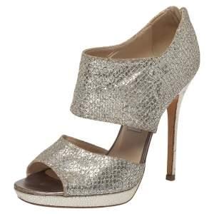 Jimmy Choo Silver Glitter Private Platform Sandals Size 38.5