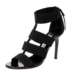Jimmy Choo Black Elastic Dario Ladder Sandals Size 39
