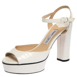 Jimmy Choo White Python Embossed Leather Peachy Platform Ankle Strap Sandals Size 37