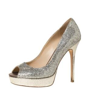 Jimmy Choo Metallic Champagne Glitter Fabric Dahlia Peep Toe Platform Pumps Size 38