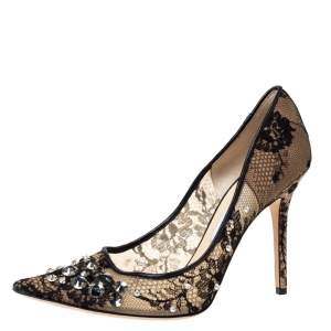 Jimmy Choo Black Lace And Leather Trim Embellished Lyzo Pointed Toe Pumps Size 41