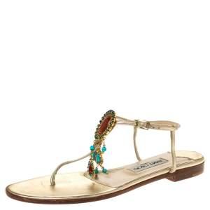 Jimmy Choo Metallic Gold Leather Crystal Embellished Flat Thong Sandals Size 39.5