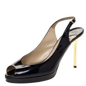Jimmy Choo Black Patent Nova Peep Toe Platform Slingback Sandals Size 38
