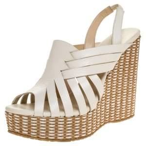Jimmy Choo White Leather And Brown Raffia Perdita Wedge Platform Sandals Size 39