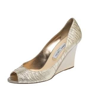 Jimmy Choo Gold Pleated Lame Fabric Baxen Peep Toe Wedge Pumps Size 40