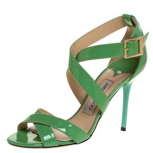 Jimmy Choo Green Patent Leather Louise Ankle Strap Sandals Size 37