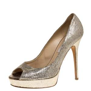 Jimmy Choo Gold Glitter and Patent Leather Dahlia Platform Pumps Size 39