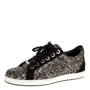 Jimmy Choo Black/Gold Glitter And Suede Leather Low Top Sneakers Size 37
