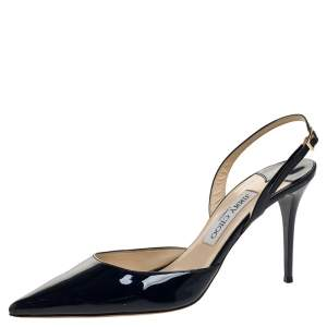 Jimmy Choo Blue Patent Tilly Pointed Toe Slingback Sandals Size 40
