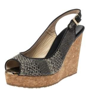 Jimmy Choo Black Woven Fabric Prova Slingback Wedge Sandals Size 38.5
