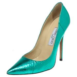 Jimmy Choo Metallic Python Embossed Leather Abel Pointed Pumps Size 38.5