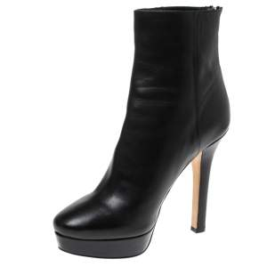 Jimmy Choo Black Leather Magic Ankle Boots Size 38