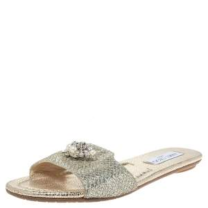 Jimmy Choo Gold Glitter Fabric Crystal Embellished Flat Slides Size 38