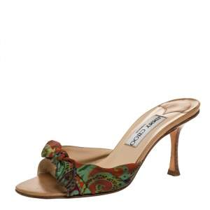 Jimmy Choo Multicolor Printed Satin Bow Slides Size 36