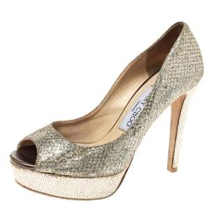 Jimmy Choo Metallic Gold Lamè Glitter Fabric Dahlia Platform Peep Toe Pumps Size 35.5