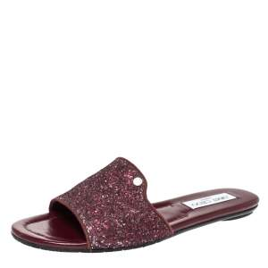 Jimmy Choo Burgundy Twilight Glitter Fabric Nanda Slide Flats Size 38.5
