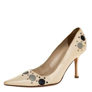 Jimmy Choo Cream Leather Circle Detail Pointed Toe Pumps Size 38.5