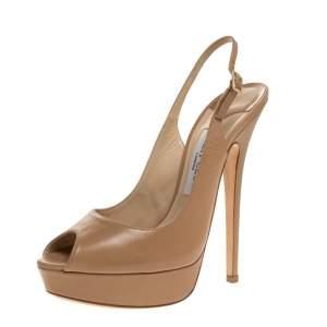 Jimmy Choo Beige Leather Peep Toe Slingback Platform Sandals Size 39