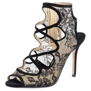 Jimmy Choo Black Suede And Lace Cut Out Peep Toe Sandals Size 37.5