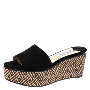 Jimmy Choo Black Suede Raffia Wedge Slide Sandals Size 41