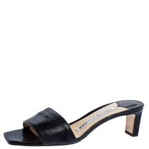 Jimmy Choo x Kaia Black Snakeskin Embossed Leather K-Slide Sandals Size 39