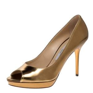 حذاء كعب عالى جيمى تشو نعل سميك مقدمة مفتوحة جلد ذهبى ميتالك مقاس 38.5