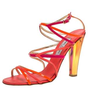 Jimmy Choo Multicolor Leather And Patent Strappy Ankle Strap Sandals Size 41