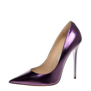 Jimmy Choo Metallic Purple Leather Abel Pointed Toe Pumps Size 40
