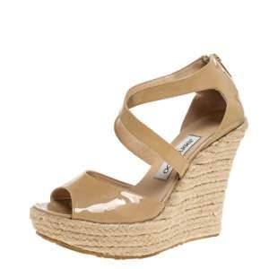 Jimmy Choo Beige Patent Leather Espadrille Wedge Platform Sandals Size 38
