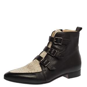 Jimmy Choo Black Leather and Snake Embossed Leather Marlin Ankle Boots Size 40