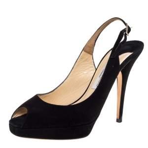 Jimmy Choo Black Suede Clue Peep Toe Slingback Sandals Size 38.5